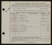 Entry card for Findley, Howard Nevin for the 1945 May Show.