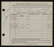 Entry card for Frankel, Arthur E. for the 1945 May Show.