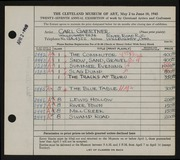 Entry card for Gaertner, Carl Frederick for the 1945 May Show.