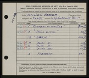 Entry card for Grauer, Natalie Eynon for the 1945 May Show.