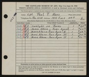 Entry card for Haas, Paul Thomas for the 1945 May Show.