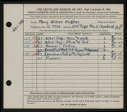 Entry card for Hughes, Mary Ruth Wilcox for the 1945 May Show.