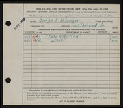 Entry card for Hulsinger, George E. for the 1945 May Show.