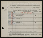 Entry card for Kozak, Paul, Jr. for the 1945 May Show.