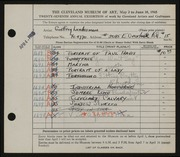 Entry card for Landesman, Geoffrey for the 1945 May Show.