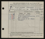 Entry card for Lawrence, Alice Lauffer for the 1945 May Show.