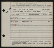 Entry card for Laws, Arthur J. for the 1945 May Show.