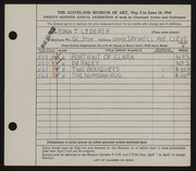 Entry card for Lederer, Edna T. for the 1945 May Show.
