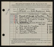 Entry card for McClean, Clara for the 1945 May Show.