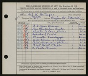 Entry card for Metzger, Hal W. for the 1945 May Show.