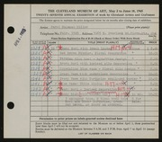 Entry card for Miller, Carol Hagaman for the 1945 May Show.