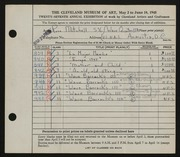 Entry card for Mitchell, Rose for the 1945 May Show.