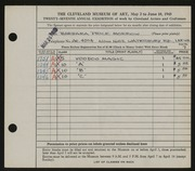 Entry card for Morrow, Barbara Price for the 1945 May Show.