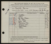 Entry card for Morrow, Charlotte for the 1945 May Show.