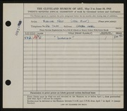 Entry card for Ness, Evaline for the 1945 May Show.