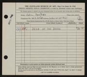Entry card for Novotny, John for the 1945 May Show.