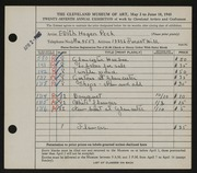 Entry card for Peck, Edith Hogen for the 1945 May Show.