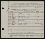 Entry card for Prentke, Edwin M. for the 1945 May Show.