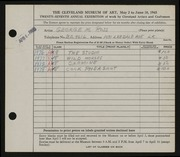 Entry card for Ross, George M. for the 1945 May Show.