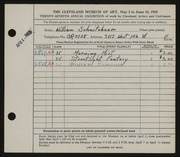 Entry card for Schnitzbauer, William for the 1945 May Show.
