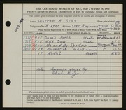 Entry card for Sinz, Walter A. for the 1945 May Show.