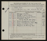 Entry card for Stoll, Rolf for the 1945 May Show.