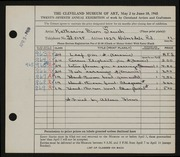 Entry card for Tauch, Katharine Dixon, and Flaws, S. Allean for the 1945 May Show.