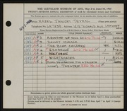 Entry card for Janicki, Hazel for the 1945 May Show.