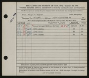 Entry card for Thayer, Allyn K. for the 1945 May Show.
