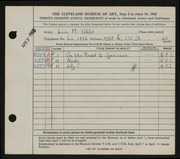 Entry card for Uhlir, Lois M. for the 1945 May Show.