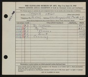 Entry card for Vago, Sandor for the 1945 May Show.