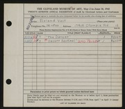 Entry card for Veit, Roland for the 1945 May Show.