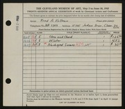 Entry card for Vollman, Fred Anthony for the 1945 May Show.