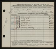 Entry card for Wolfs, Wilma Diena for the 1945 May Show.