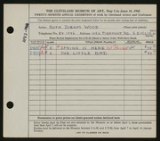 Entry card for Wood, Ruth Diehm for the 1945 May Show.
