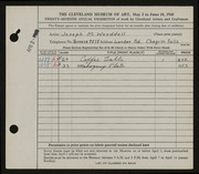 Entry card for Wooddell, Joseph M. for the 1945 May Show.