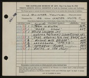 Entry card for Young, Jay Quinter for the 1945 May Show.