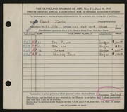 Entry card for Zerlin, Robert for the 1945 May Show.