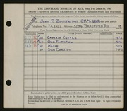 Entry card for Zimmerman, John P. for the 1945 May Show.
