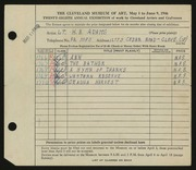 Entry card for Adams, L. B. for the 1946 May Show.