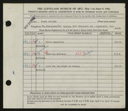 Entry card for Anliker, Roger William for the 1946 May Show.