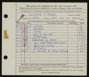 Entry card for Bandel, Lennon R. for the 1946 May Show.