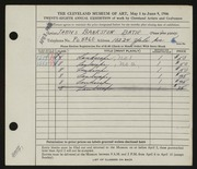 Entry card for Batie, James Bankston for the 1946 May Show.