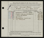 Entry card for Behl, Carl William for the 1946 May Show.