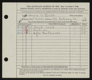 Entry card for Blake, Harold D. for the 1946 May Show.