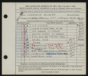 Entry card for Blazey, Lawrence for the 1946 May Show.