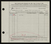 Entry card for Blosser, Elizabeth H. for the 1946 May Show.