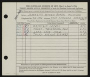 Entry card for Bohdal, Jeannette Antonia for the 1946 May Show.