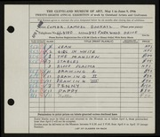 Entry card for Bookatz, Samuel for the 1946 May Show.
