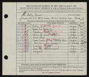 Entry card for Boyer, Betty for the 1946 May Show.